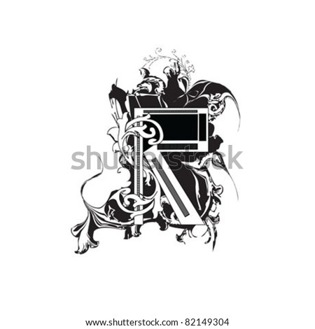 Letter R Ornate Black and White - stock vector