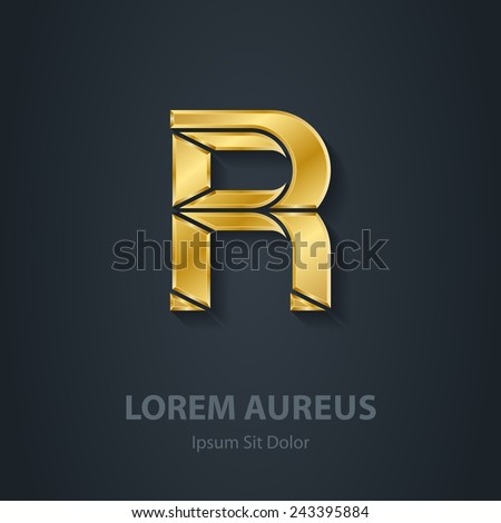 Letter R. Vector elegant gold font. Template for company logo. Design element or icon. - stock vector