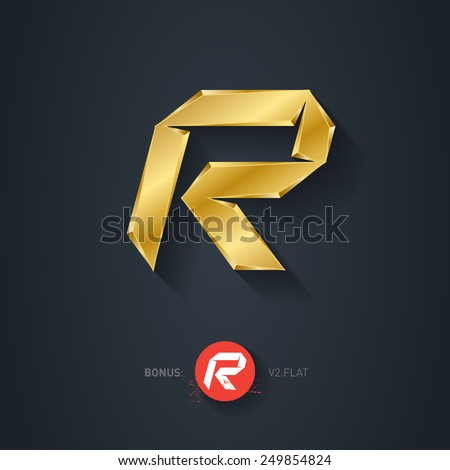 Letter R, Vector gold font. Elegant Template for company logo. 3d Metallic Design element or icon. Pseudo origami style, including flat version. - stock vector