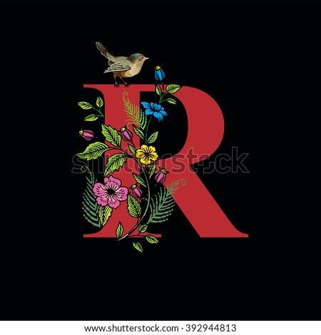 Letter r flowers bird on black stock vector royalty free 392944813 letter r with flowers and bird on black background vector altavistaventures Choice Image