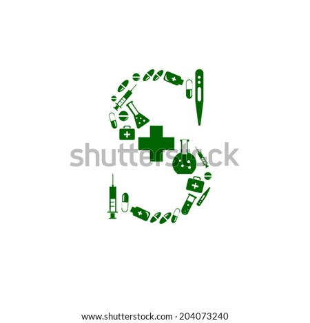 Letter S, alphabet of medicine pills - stock vector