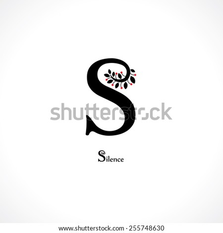 letter s in floral style - stock vector