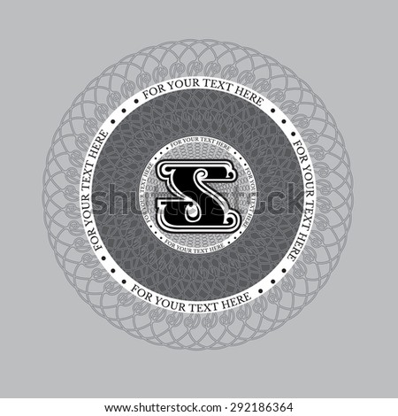 Letter s in spirograph circle frame from lines pattern. Royal monogram luxury style - stock vector