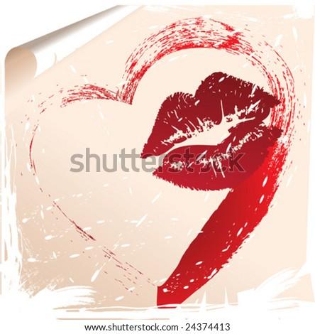 letter's kiss - stock vector