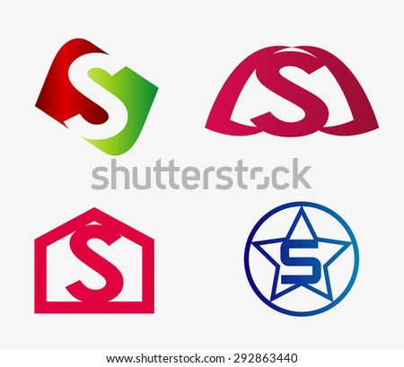 Letter S logo icon set  - stock vector