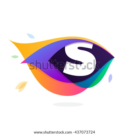 Letter S logo in peacock feather icon. Multicolor vector alphabet letters for app icon, corporate identity, card, labels or posters. - stock vector