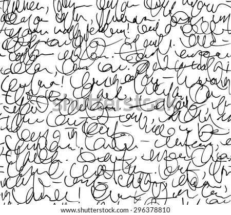 Letter seamless pattern. Black and white script background. Sketch of writing calligraphy template - stock vector