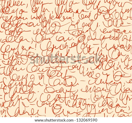 Letter seamless pattern. Red script background. Sketch of writing calligraphy template - stock vector