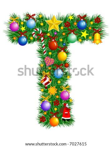 Letter m christmas tree decoration alphabet stock vector for Letter t decoration