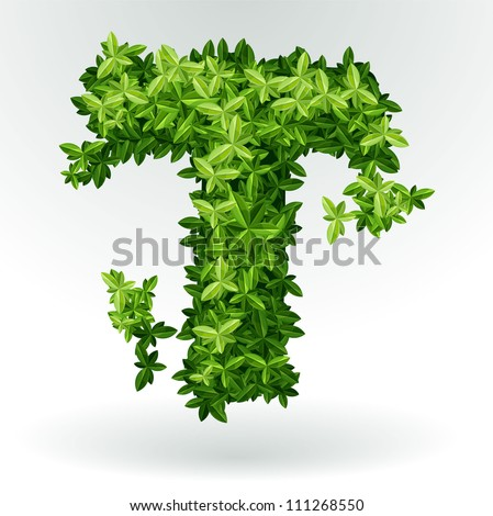 Letter T, green leaves summer vector alphabet. - stock vector