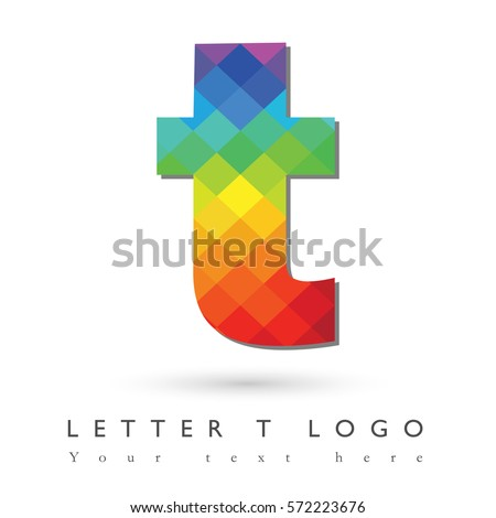 Letter T Logo Design Concept In Rainbow Mosaic Pattern Fill And White Background