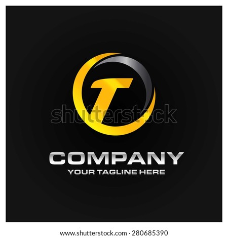 Letter T logo , Orange and gray Metal abstract glossy logo on black background . Place for Company name and tag line . Business logo - vector illustration - stock vector