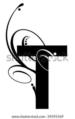 Letter T- Modern Swirl - stock vector