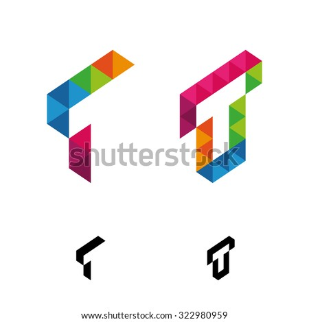Letter T Vector Origami Logo Icon