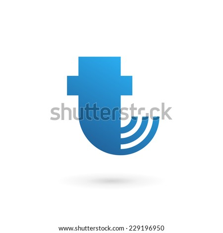 Letter T wireless logo icon design template elements  - stock vector