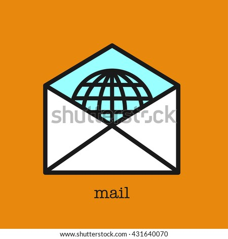 Letter. The envelope with the letter. Delivery of letters all over the world. - stock vector