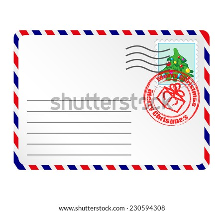 Letter to Santa Claus with stamps and postage mark  - stock vector
