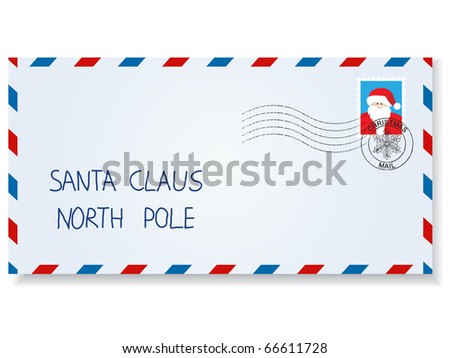 letter to santa claus with stamps and postage  marks - stock vector
