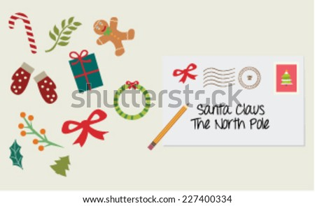 Letter to Santa greeting card - stock vector