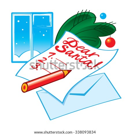 Letter to Santa - list of Christmas wishes - stock vector