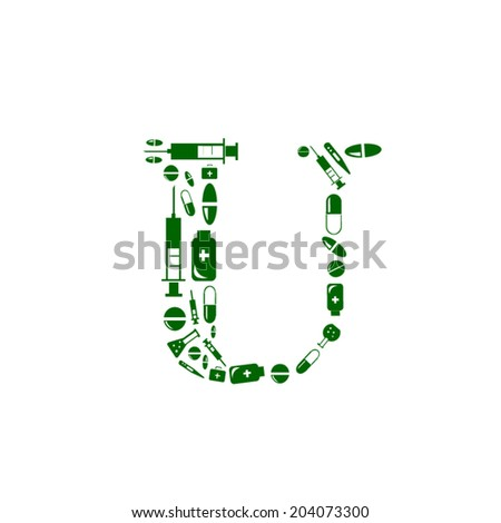 Letter U, alphabet of medicine pills - stock vector