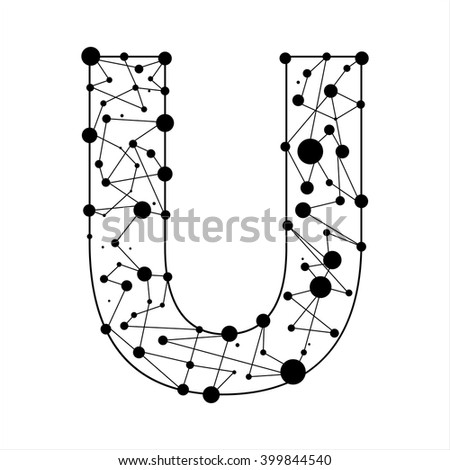 Letter U consisted of dots and lines, English alphabet - stock vector