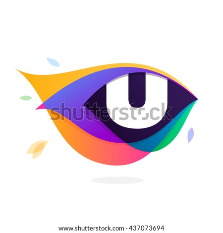 Letter U logo in peacock feather icon. Multicolor vector alphabet letters for app icon, corporate identity, card, labels or posters. - stock vector