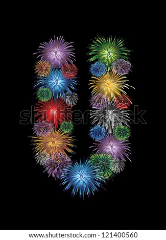 letter (U)  made from colorful in the form of fireworks letters - check my portfolio for other letters. - stock vector