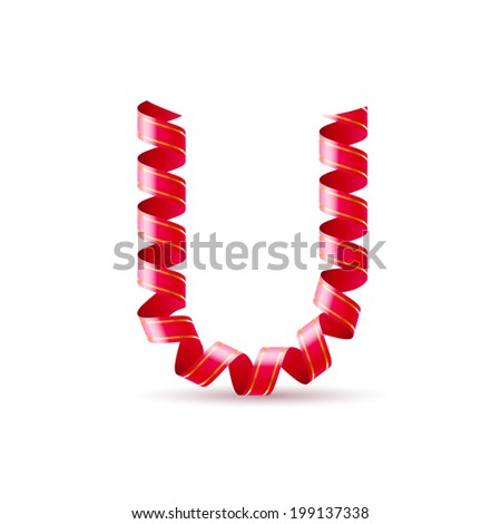 Letter U made of red curled shiny ribbon - stock vector