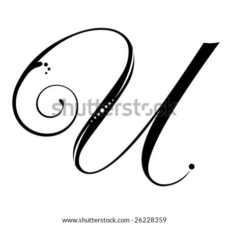 Letter U - Script - stock vector