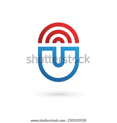 Letter U wireless logo icon design template elements  - stock vector