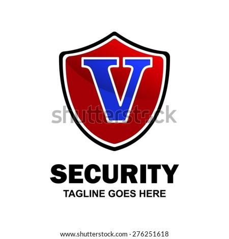 Letter v crest logo. Alphabet logotype vector design . heraldic shape shield . abstract symbol of security . Red Security Shield . vector illustration - stock vector