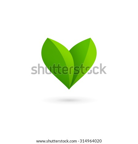Letter V heart eco leaves logo icon design template elements - stock vector