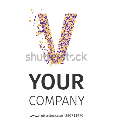 Letter V logo. Alphabet particles logotype vector design. Excellent vector illustration, EPS 10 - stock vector
