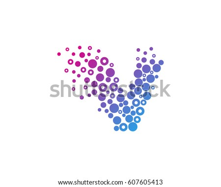 Letter V Particle Dot Logo Design Stock Vector 607605413 Shutterstock