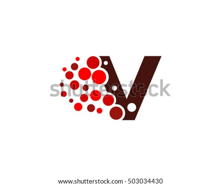 Letter V Pixel Dot Circle Spread Stock Photo Photo Vector