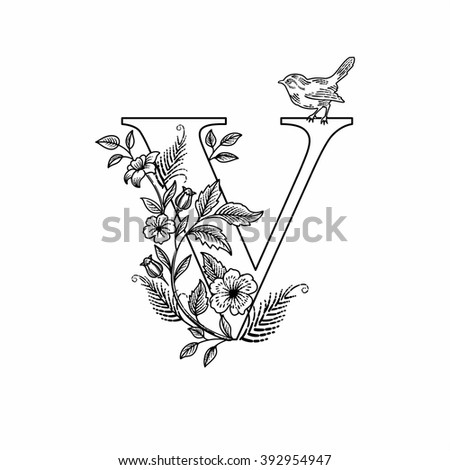 Flower letter v stock images royalty free images vectors letter v with flowers and bird linear figure vector altavistaventures Choice Image