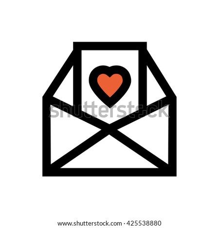 Letter, valentine's day, love line icon. Pixel perfect fully editable vector icon suitable for websites, info graphics and print media. - stock vector