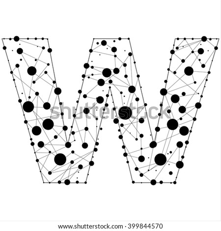 Letter w consisted of dots and lines, English alphabet - stock vector