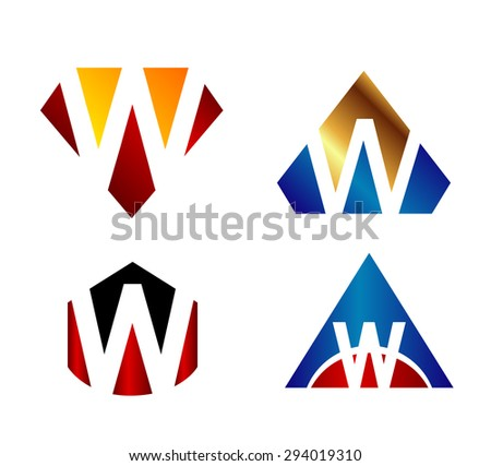 Letter w logo icon design template elements set