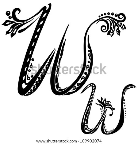 Letter W w in the style of abstract floral pattern on a white background - stock vector