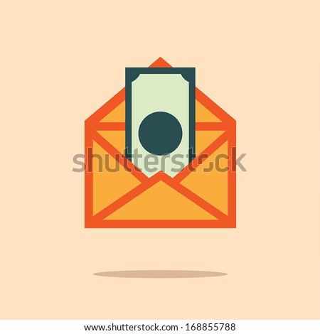 Letter with dollar banknote, Business idea - stock vector