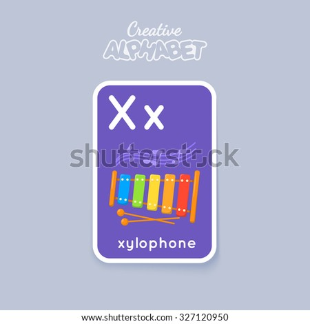 Letter, word and picture. Alphabet card for children. Colorful vector illustration. - stock vector