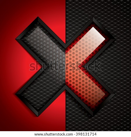 Letter X design.Abstract black and red background.Vector illustration - stock vector