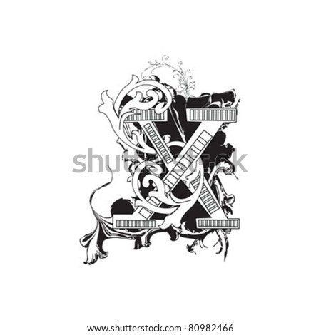 Letter X Ornate Black and White - stock vector
