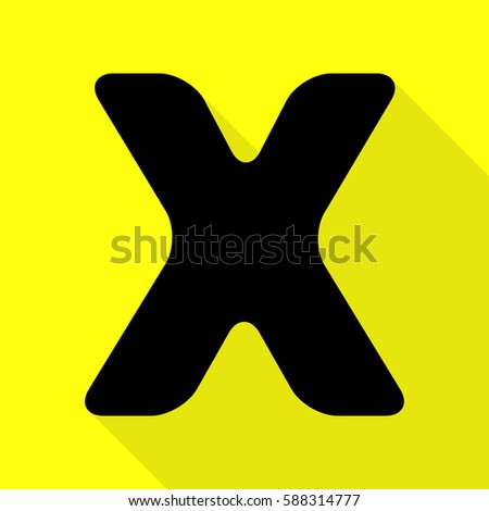 Letter X sign design template element. Black icon with flat style shadow path on yellow background.