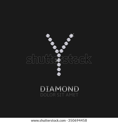 Letter Y with gemstones. Luxury Diamond alphabet, Vector illustration - stock vector