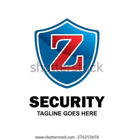 Letter z crest logo. Alphabet logotype vector design . heraldic shape shield . abstract symbol of security . blue Security Shield with red typography style . vector illustration - stock vector