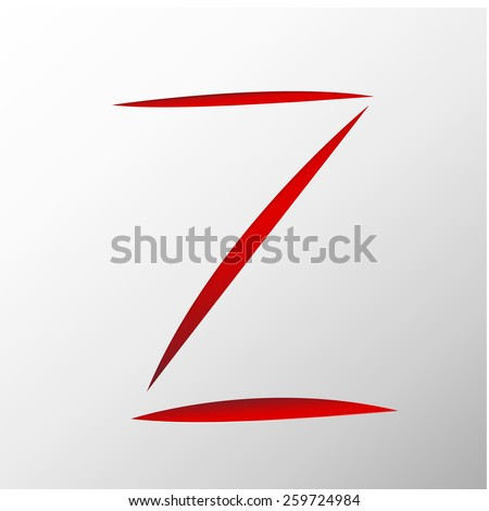 Letter Z cut out on a paper. Vector Scratches  alphabet - stock vector