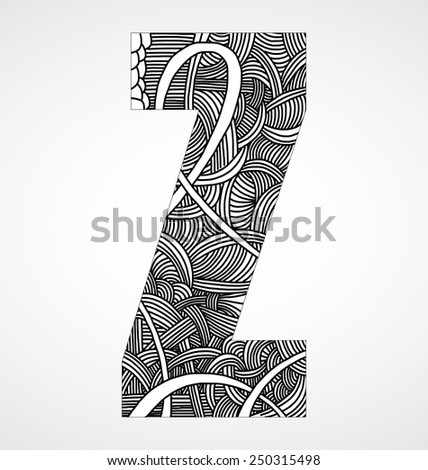 """Letter """"Z"""" from doodle alphabet - stock vector"""